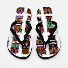Tiki Mask Pattern White Flip Flops