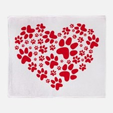 red heart with paws, animal foodprin Throw Blanket