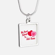 My Heart Belongs To Silver Square Necklace