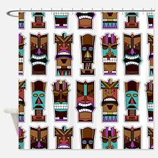 Tiki Mask Pattern White Shower Curtain