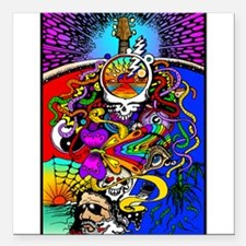 """Psychedelic Doodle Square Car Magnet 3"""" x 3"""""""
