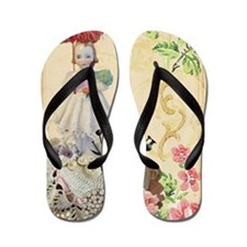 Pincushion and porcelain doll Flip Flops