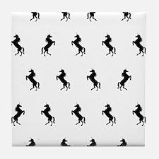 Black And White Unicorns Tile Coaster