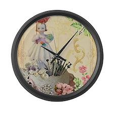 Pincushion and porcelain doll Large Wall Clock