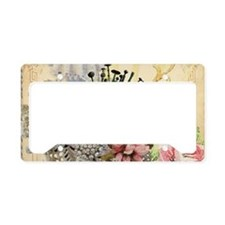 Pincushion and porcelain doll License Plate Holder