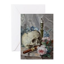 Still life with skull, candlestick, flute, and flo