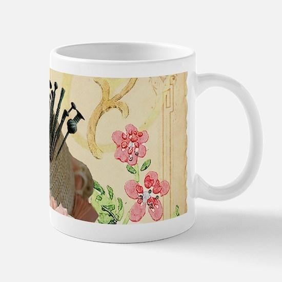 Pincushion and porcelain doll Mugs