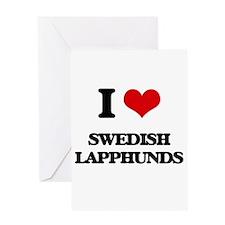 I love Swedish Lapphunds Greeting Cards