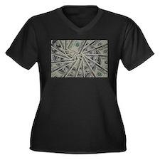 swirl hundred dollar bills Plus Size T-Shirt