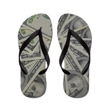 swirl hundred dollar bills Flip Flops