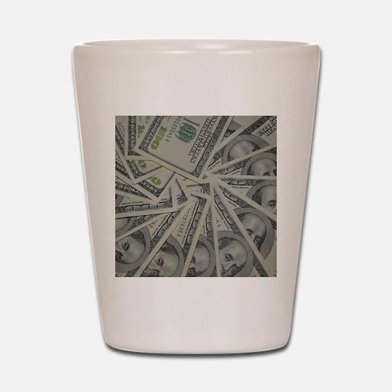 swirl hundred dollar bills Shot Glass