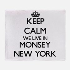 Keep calm we live in Monsey New York Throw Blanket