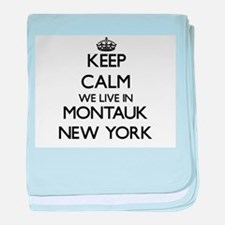 Keep calm we live in Montauk New York baby blanket