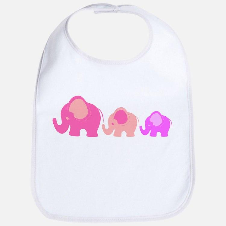 Pink Elephants Bib