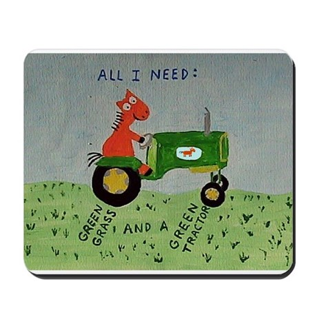 green tractor Mousepad