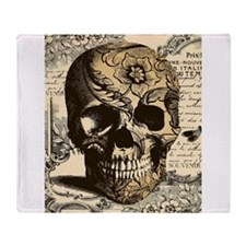 Steampunk skull Throw Blanket