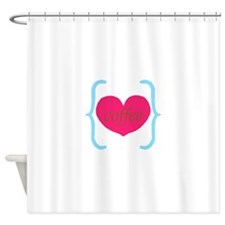 Turquoise Pink Coffee Heart Shower Curtain