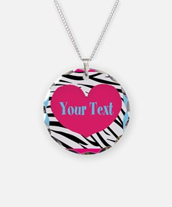 Personalizable Pink Zebra Necklace