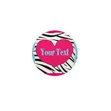 Personalizable Pink Zebra Mini Button