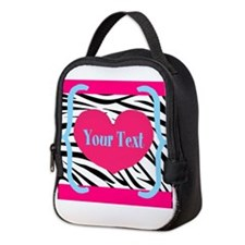 Personalizable Pink Zebra Neoprene Lunch Bag