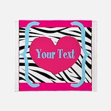 Personalizable Pink Zebra Throw Blanket
