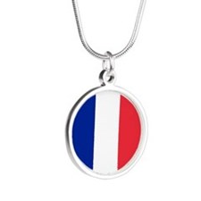 France Flag Silver Round Necklace