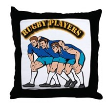 Rugby Players with Text Throw Pillow