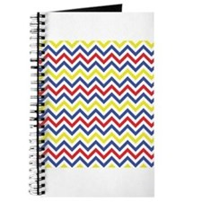 Red, Blue, and Yellow Chevron Pattern Journal