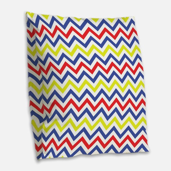 Red, Blue, and Yellow Chevron Pattern Burlap Throw