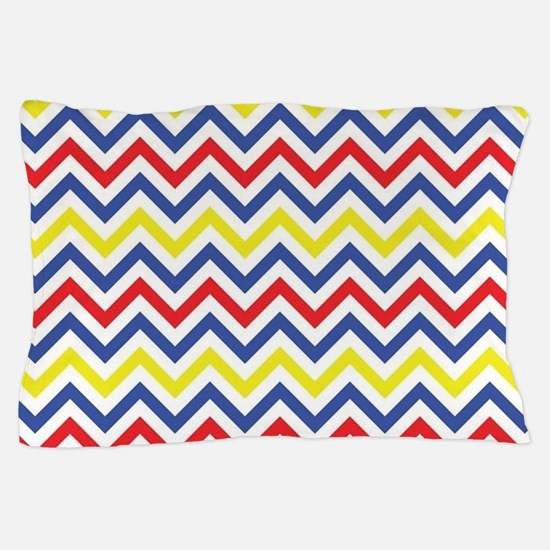 Red, Blue, and Yellow Chevron Pattern Pillow Case