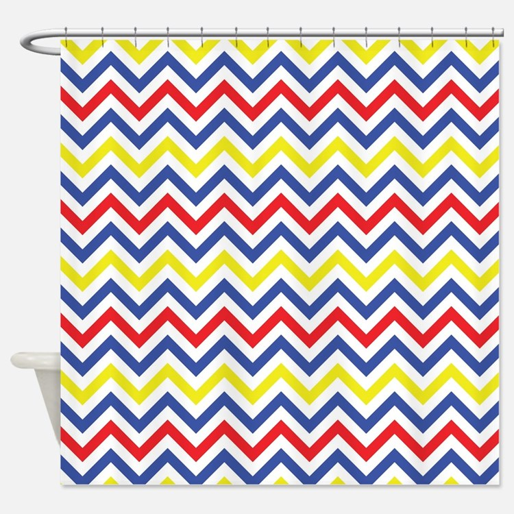 Red  Blue  and Yellow Chevron Pattern Shower CurtaPrimary Colors Shower Curtains   Primary Colors Fabric Shower  . Red And Blue Shower Curtain. Home Design Ideas