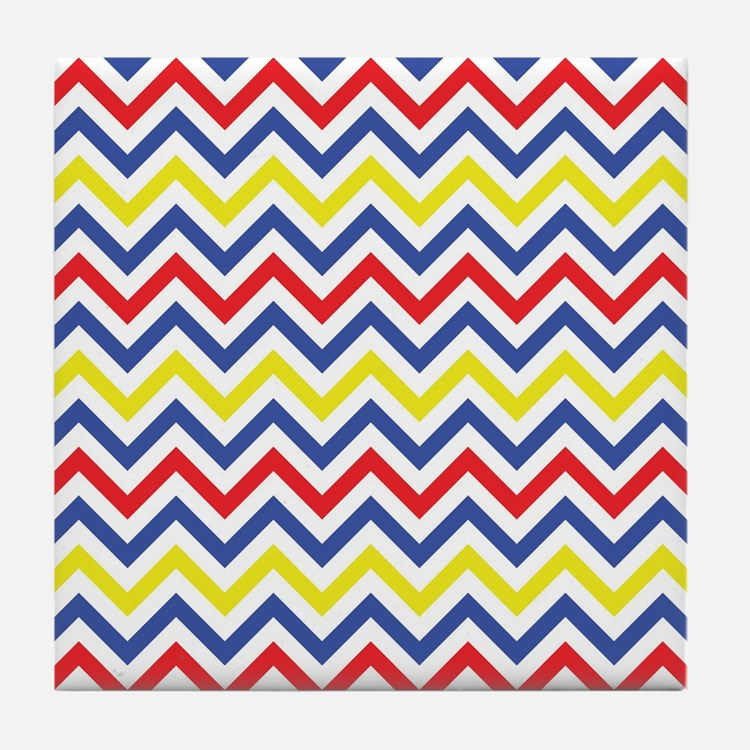 Red, Blue, and Yellow Chevron Pattern Tile Coaster