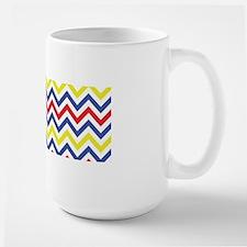 Red, Blue, and Yellow Chevron Pattern Mugs