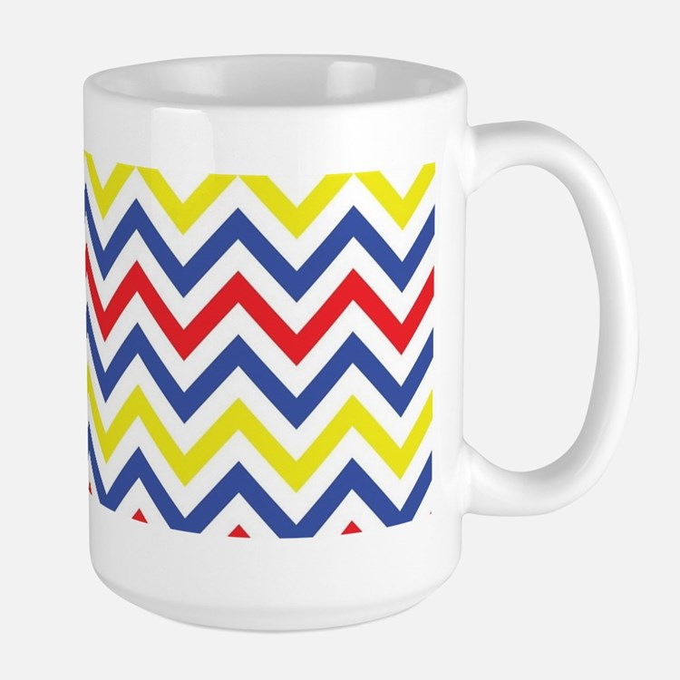 Red, Blue, and Yellow Chevron Pattern Mugs