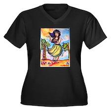 Hula girl, cartoon, Hawaii art Plus Size T-Shirt