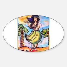 Hula girl, cartoon, Hawaii art Decal