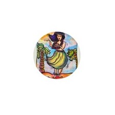 Hula girl, cartoon, Hawaii art Mini Button (10 pac
