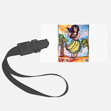 Hula girl, cartoon, Hawaii art Luggage Tag