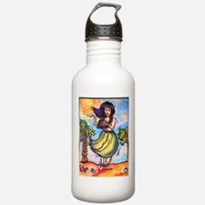 Hula girl, cartoon, Hawaii art Water Bottle