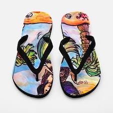 Hula girl, cartoon, Hawaii art Flip Flops