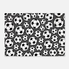 Gray Soccer Ball Pattern 5'x7'Area Rug