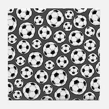 Gray Soccer Ball Pattern Tile Coaster