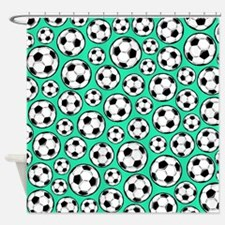 Aqua Turquoise Soccer Ball Pattern Shower Curtain