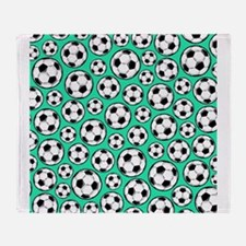 Aqua Turquoise Soccer Ball Pattern Throw Blanket