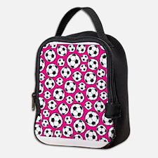 Pink Soccer Ball Pattern Neoprene Lunch Bag