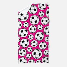 Pink Soccer Ball Pattern Beach Towel