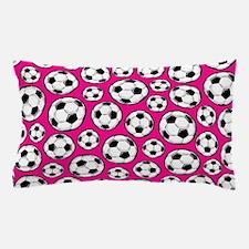 Pink Soccer Ball Pattern Pillow Case
