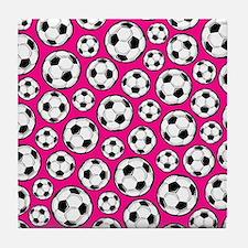 Pink Soccer Ball Pattern Tile Coaster