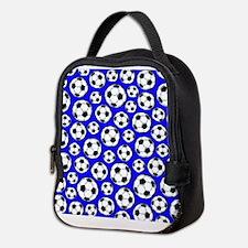 Royal Blue Soccer Ball Pattern Neoprene Lunch Bag