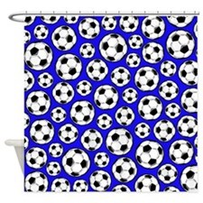 Royal Blue Soccer Ball Pattern Shower Curtain